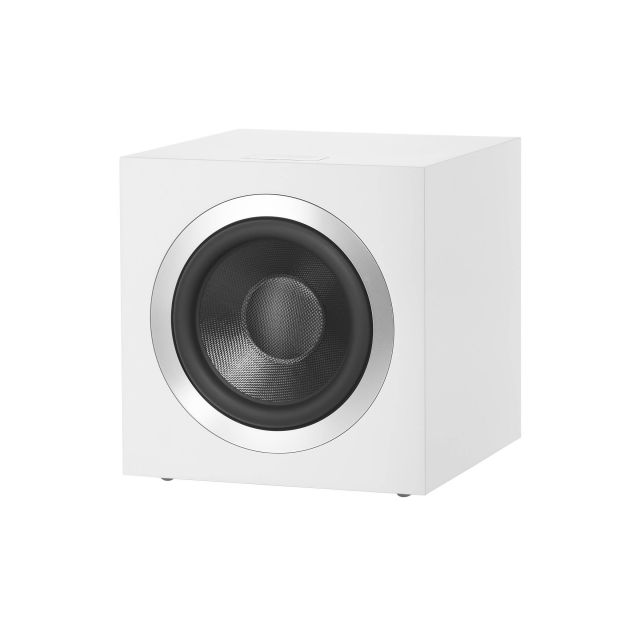 B&W DB4S 1000 Watt Subwoofer in Satin White - Front view with grille off.