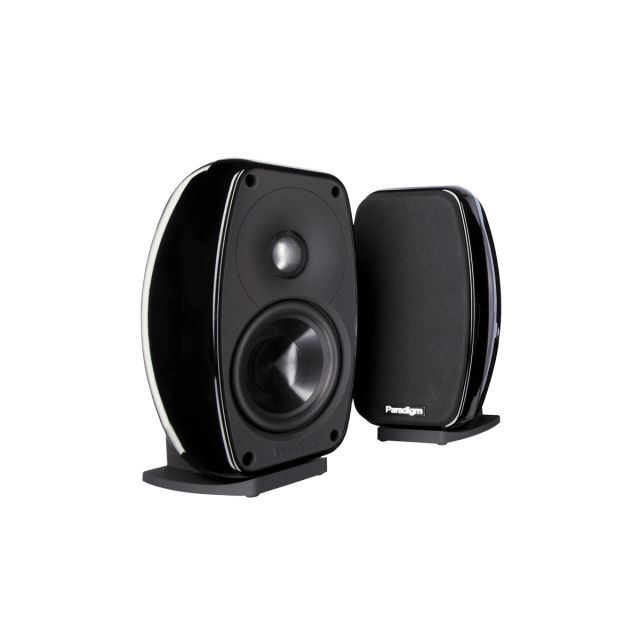 Paradigm Cinema 100 2.0 On Wall / Satellite Speakers - Front view with grille off.