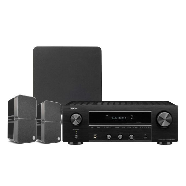 Denon DRA-800H Network Stereo Receiver with Cambridge Audio 2.1 Speakers and Subwoofer.