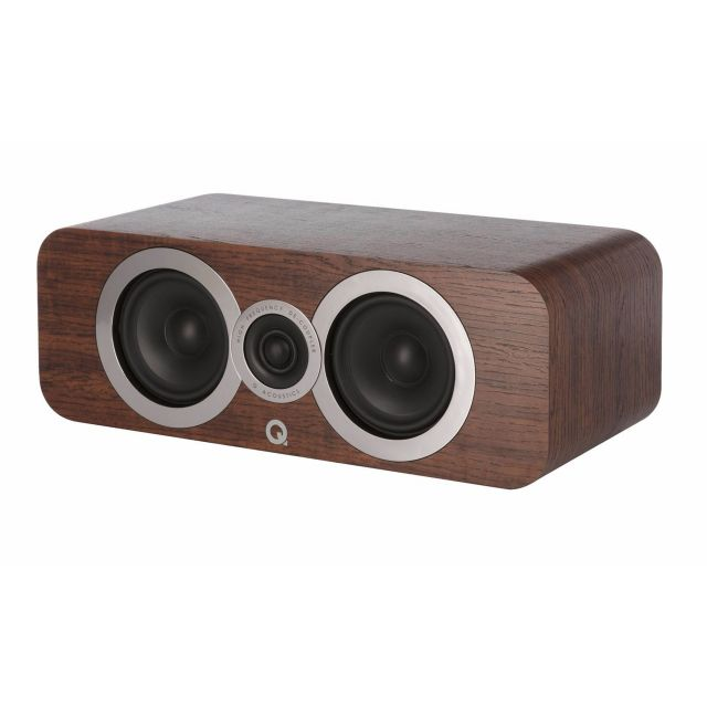 Q Acoustics 3090Ci Centre Channel Speaker - Front angle view with grille cover removed.