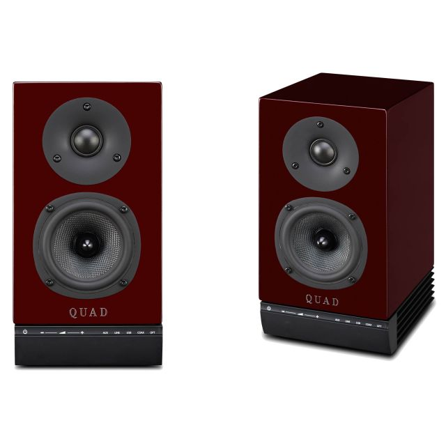 Quad 9AS Powered Monitor Speakers - Front view without grille covers.