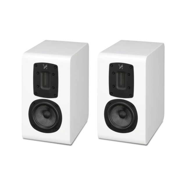 Quad S-1 Standmount/Bookshelf Speakers - Displayed without their magnetic speaker grilles