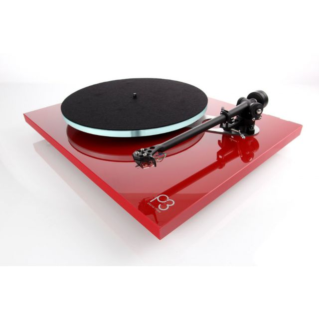Rega Planar 3 Turntable - Gloss Red - Shown With Optional Cartridge (Sold Separately)