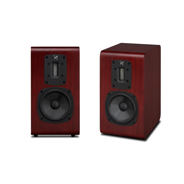 Quad S-2 Bookshelf Speakers - Front and angle view