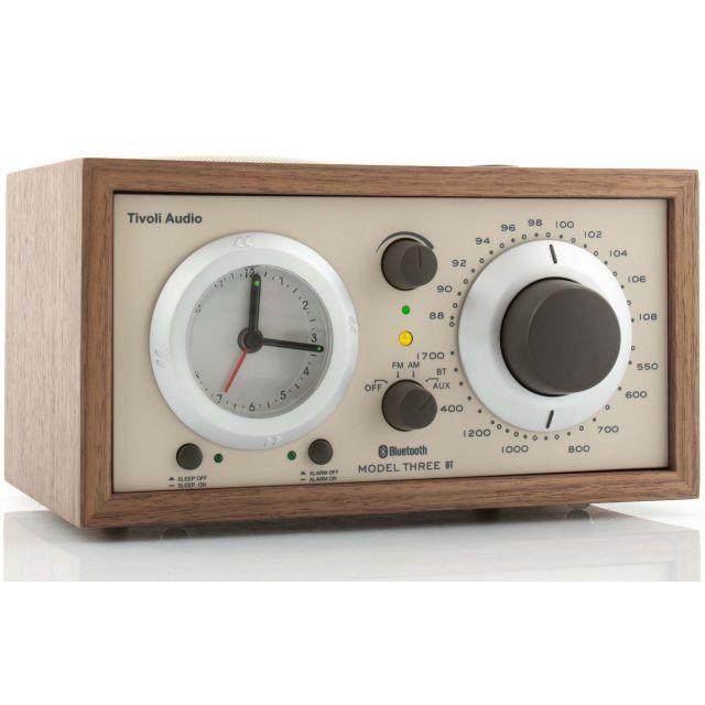 Tivoli Audio Model Three BT AM/FM Table Clock Radio with Bluetooth - White/Silver