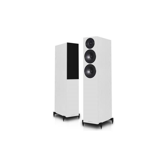 Wharfedale Diamond 12.3 Speakers In White - Front view.